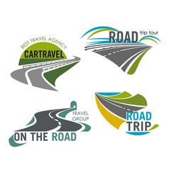 Road travel company icons set tourism trip vector