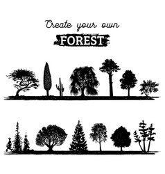different trees silhouettes create your vector image