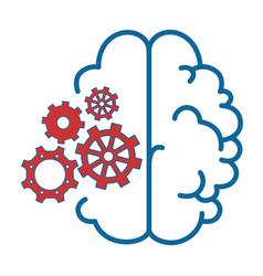 Brain with gear wheels icon vector