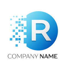 realistic letter r logo in colorful circle vector image