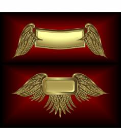 Gold winged banners vector