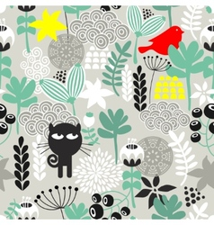 Seamless pattern with black cat hunting vector