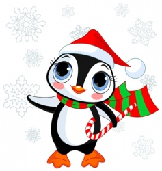 Cute christmas penguin vector