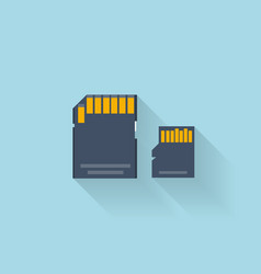 Flat memory card icon for web vector