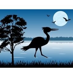 Stork on lake vector image