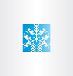 Snowflake blue square icon vector
