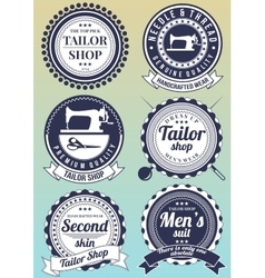Set of dark blue round badges for tailor shops vector
