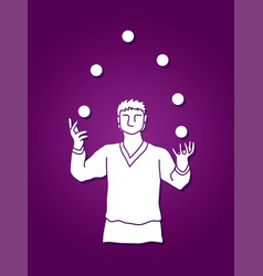 a man juggling balls while cycling graphic vector image vector image