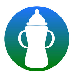 Baby bottle sign white icon in bluish vector