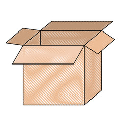 Big cardboard box opened in colored crayon vector