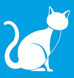 black cat icon white vector image vector image