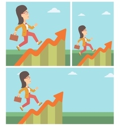 Business woman running along the growth graph vector