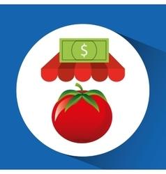 Buying online tomato vegetable icon vector