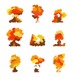 Cartoon explosion effect set explode flash vector