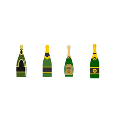 champagne icon set flat style vector image