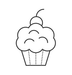 cupcake with cherries vector image vector image