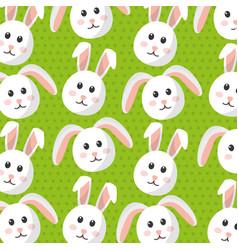 cute bunny animal furry cartoon pattern vector image
