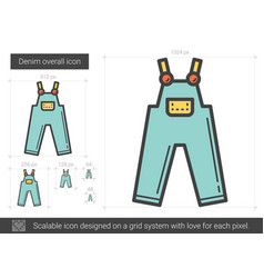 Denim overall line icon vector