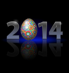 Easter holiday in 2014 metal numerals with vector