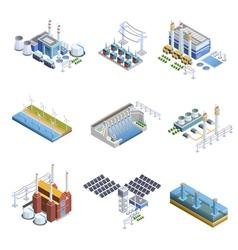 Electricity generation plants images set vector