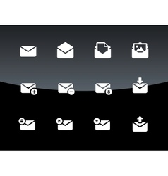 Email icons on black background vector image vector image