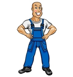 Friendly worker in blue overalls vector