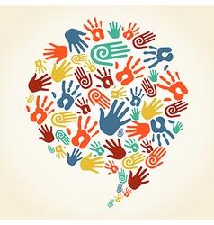 Global diversity hand prints speech bubble vector