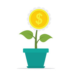 growing plant flower with dollar sign vector image