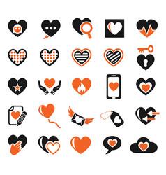 heart love icon set vector image vector image