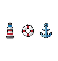 icon sea lighthouse lifebuoy and anchor on vector image vector image
