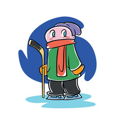 kid with an ice hockey stick vector image