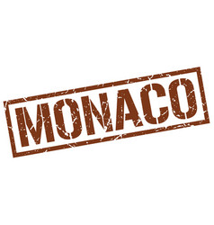 Monaco brown square stamp vector
