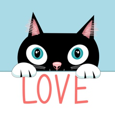 Portrait of a cat with the word love vector