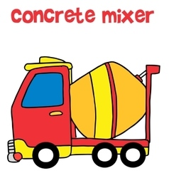 Red concrete mixer cartoon vector