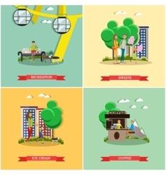 Set of amusement park concept posters vector