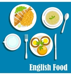 Traditional national english cuisine dishes vector image