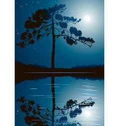 Trees and full moon background vector