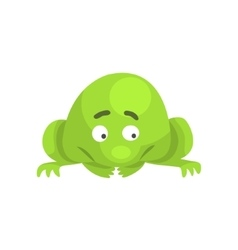 Upset green frog funny character childish cartoon vector