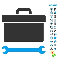 Toolbox flat icon with bonus vector