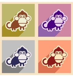 Set flat icons with long shadow happy monkey vector