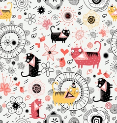 Decorative texture with lovers cats vector