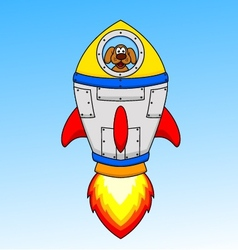 Cartoon astronaut dog in the seceship vector