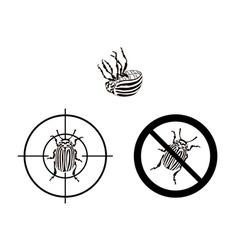 Prohibition sign colorado beetles vector