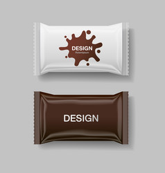 Blank foil food snack pack for biscuit wafer vector