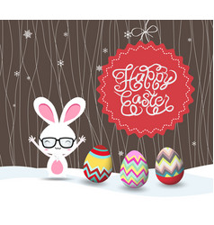Happy easter with bunny and eggs greeting card vector