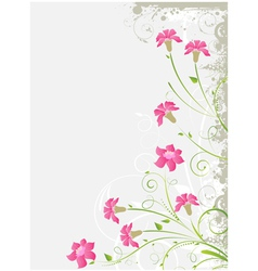 Grunge floral gray background vector