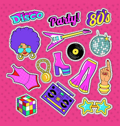 Disco party doodle music fashion set with woman vector