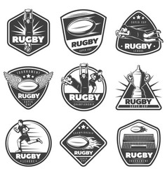 Vintage monochrome rugby labels set vector