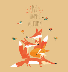 Cute foxes with birds vector