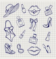 Girls fashion elements set sketch vector